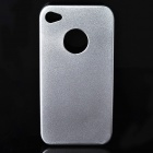 Protective Steel Back Case + Screen Guards + Cleaning Cloth Set for Iphone 4 / 4S - Silver White