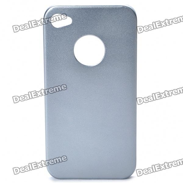 Protective Steel Back Case + Screen Guards + Cleaning Cloth Set for Iphone 4 / 4S - Silver Grey