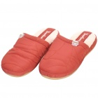 Soft Coral Fleece Indoor Winter Cotton Slippers - Dark Red (Size 38/39)