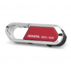 Genuine ADATA Carabiner Clip Style USB 2.0 Flash Drive - Red + Silver (16GB)