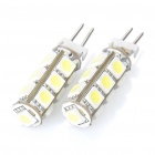 G4 2.6W 6000K 195-Lumen 13-5050 SMD LED White Light Bulb (DC 12V / Pair)