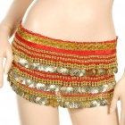 Golden Coins Pendant Belly Dance Hip Skirt Dress - Red (70~90cm)