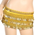 Golden Coins Pendant Belly Dance Hip Skirt Scarf - Yellow (70~90cm)