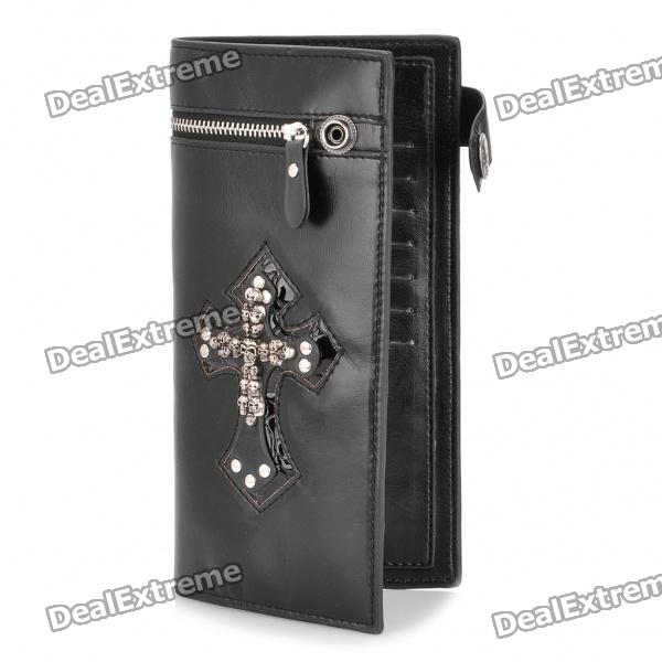 Cross Skulls Pattern PU Leather 2-Fold Long Wallet Purse - Black + Silver