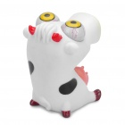 Pop Out Eyes muñeca Stress Reliever Relief Squeeze Toy - Vaca (Blanco + Negro)