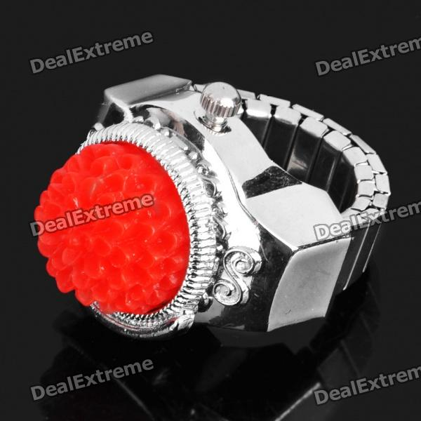 Fashion Finger Ring Watch - Silver + Red (1 x 377)