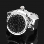 Fashion Finger Ring Watch - Black + Silver (1 x 377)
