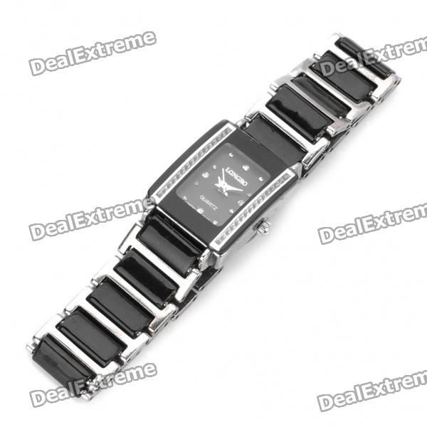 Ceramic Wrist Quartz Watch for Woman - Black + Silver (1 x 377) pentagon dial five movement men s sports analog quartz wrist watch black silver 5 x 377 page 7