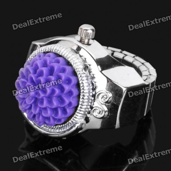 Fashion Finger Ring Quartz Watch - Silver + Purple (1 x 377)