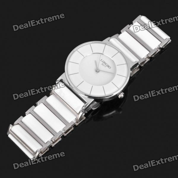Ceramic Wrist Quartz Watch for Man - White + Silver (1 x 377) new 40mm parnis black dial ceramic bezel white markers sapphire glass auto date gmt automatic movement men s business watch