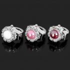 Fashion Finger Ring Quartz Watch - White + Pink + Red (3-Piece Pack / 1 x 377)
