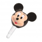 Cute Mickey Mouse 3.5mm Dustproof Plug-in Earphone Jack for iPhone - Black + Beige