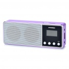 "Rechargeable 1.0"" LCD MP3 Player Music Speaker with FM / TF / USB / Earphone Slot (Purple)"