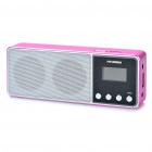 "Rechargeable 1.0"" LCD MP3 Player Music Speaker with FM / TF / USB / Earphone Slot (Deep Pink)"