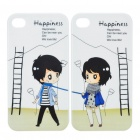 Lovely Lovers Protective Back Case for iPhone 4 - White + Black (Pair)