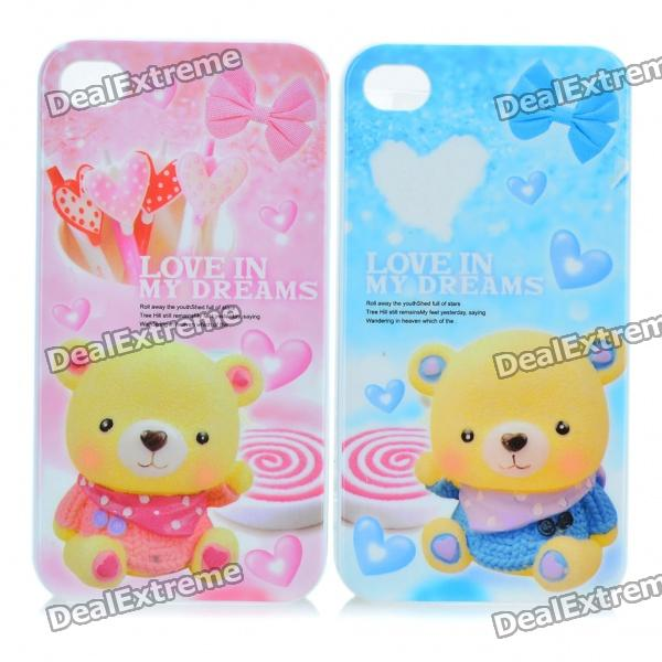 Cute Lovely Bear Lovers Protective Back Case for Iphone 4 - White + Blue + Pink (Pair)