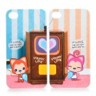 Cute Cartoon Fox Ali Lovers Protective Back Case for iPhone 4 - White + Blue + Pink (Pair)