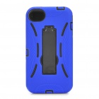 Stylish Standable Protective Case for iPhone 4S - Black + Blue