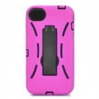 Stylish Standable Protective Case for iPhone 4S - Black + Deep Pink
