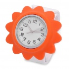 Stylish Wrist Quartz Silicone Watch - Orange + White (1 x 377)