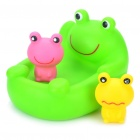 Cute Floating Frog Style Bath Toys Set with Sound Effect - Green (Set of 3)