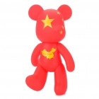 7&quot; Mono Bear Display Toy with Chinese Map / Flag Pattern - Red + Yellow (Moveable Joint)