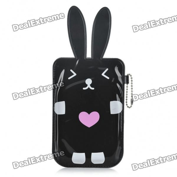 Cartoon Rabbit Style Mobile Phone Protective PU Case Pouch - Black