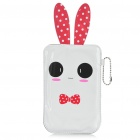 Cartoon Rabbit Style Mobile Phone Protective PU Case Pouch - White