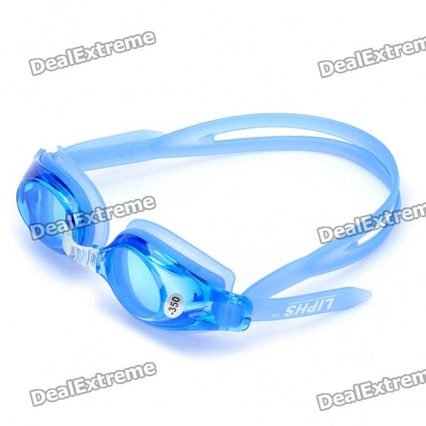 LIPHS Silicone Strap 350 Degree Short Sight PC Lens Swimming Goggle Glasses w/ Carrying Box - Blue