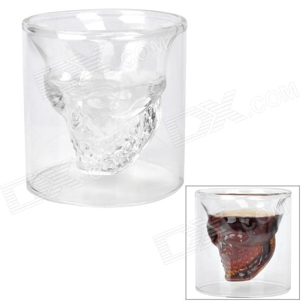 Creative Double-walled Glass Scary Skull Design Cup Shot Glass - White