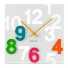 Modern Hollowed and Colored Numerals Square Wall Clock - White (1 x AA)