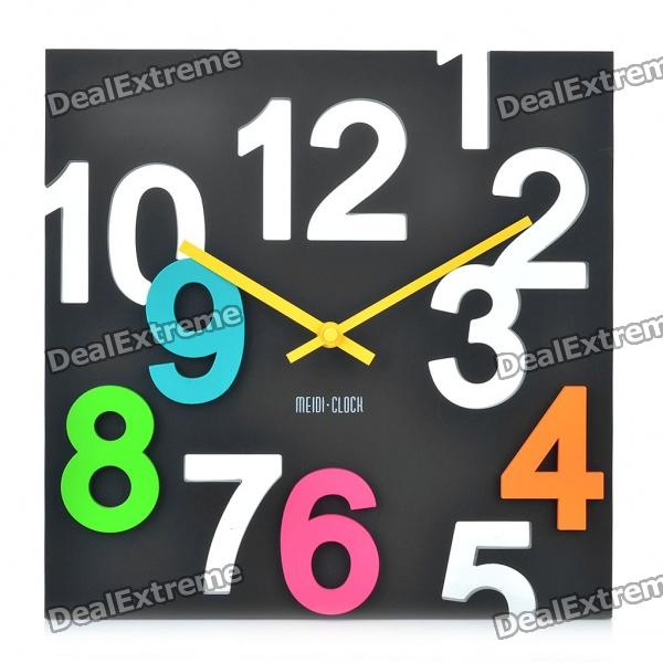 Modern Hollowed and Colored Numerals Square Wall Clock - Black (1 x AA)