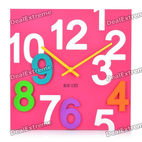 Modern Hollowed and Colored Numerals Square Wall Clock - Pink (1 x AA)