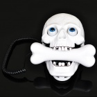 Stylish Skull Style Wired Telephone - White