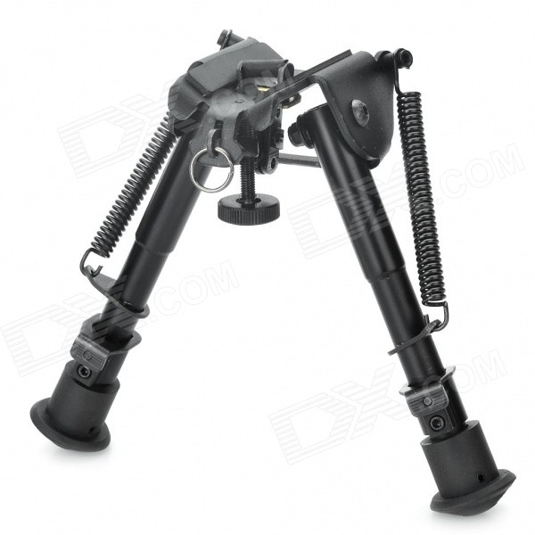 6 Retractable Aluminum Alloy Tactical Spring Loaded Bipod Rifle Stand for M4 / M16 (Max. 80Kg) 6 aluminum alloy tactical bipod w extendable leg for guns black