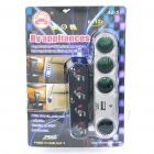 4-Way Car Cigarette Lighter Socket Splitter with USB Port (DC 12V)