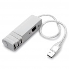 USB 2.0, LAN Ethernet Adapter Кабель с 3-портовый USB HUB (серый)