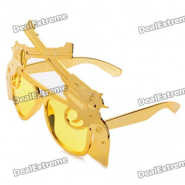 Stylish Plastic Frame Resin Lens Glasses - Golden