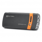 SUNGZU USB / Solar Powered 2600mAh Battery Pack w/ 4-LED Flashlight / Adapters - Black + Orange