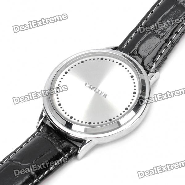 Stylish Blue LED Touch Screen Digital Wrist Watch - Silver + White + Black (1 x LR626) 1 2 led waterproof digital wrist watch white 1 x lr626