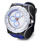 Stylish Silicone Water Resistant Quartz Wrist Watch - Blue + Black (1 x 377)