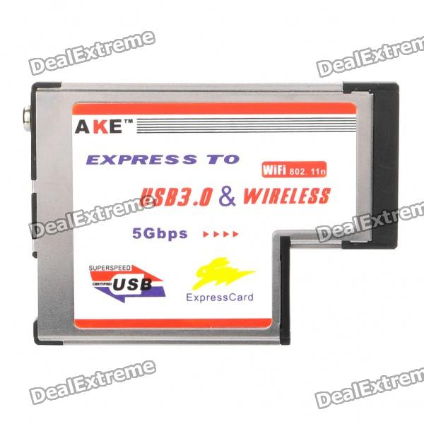 AKE Express Card 54mm to 1 port Super Speed 5Gbps USB 3.0 + WiFi Wireless Adapter
