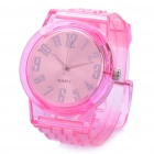 Stylish Sports Rubber Water Resistant Wrist Watch - Transparent Pink (1 x 377)