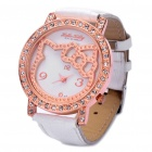 Cute Hello Kitty Style Imitation Diamond Metal + PU Leather Wrist Watch (1 x 377)