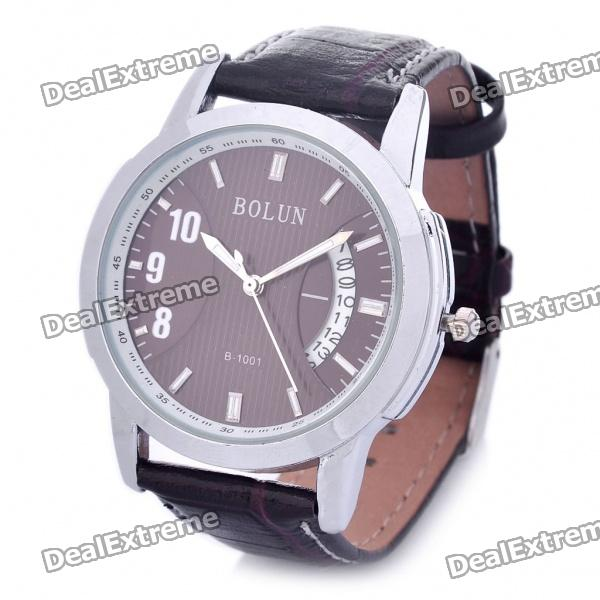Stylish Water Resistant Quartz Wrist Watch with Date Display - Coffee (1 x 377)