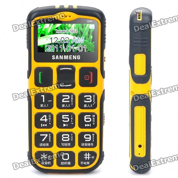 "S908 1.7"" LCD Screen Dualband GSM Cell Phone w/ Touch/FM/SOS for Senior Citizens - Yellow"