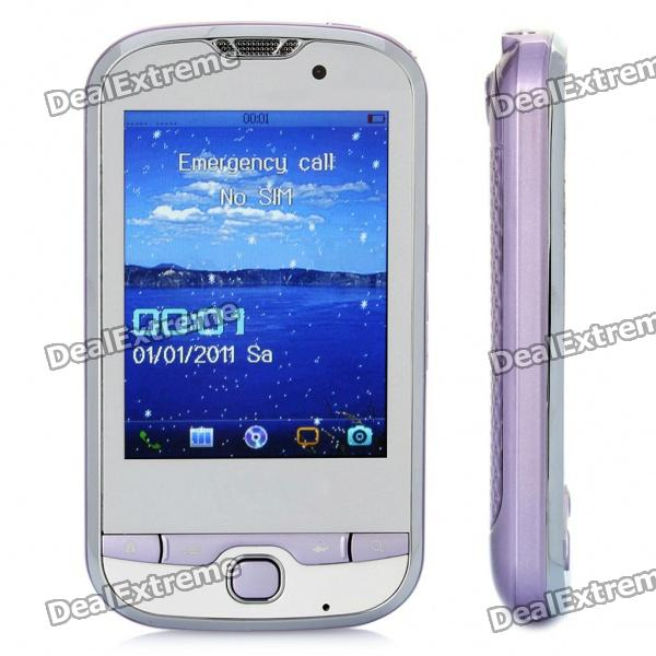 """T900 GSM TV Cell Phone w/ 2.8"""" Resistive Touch Screen, Quadband, Dual SIM, FM and Java - Purple"""