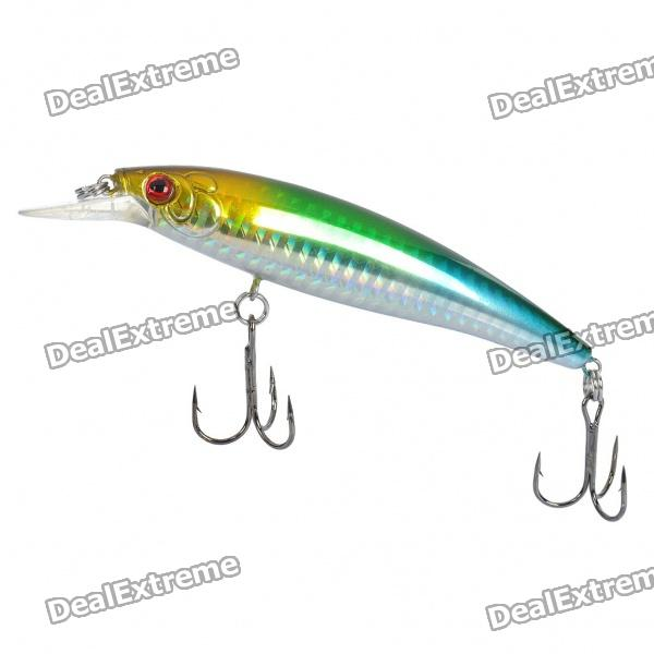 Lifelike Fish Style Fishing Bait w/ Treble Hooks - Yellow + Blue + Green + Silver