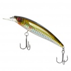 Lifelike Fish Style Fishing Bait w/ Treble Hooks - Golden + Silver