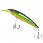 Lifelike Fish Style Fishing Bait w/ Treble Hooks - Green + Yellow